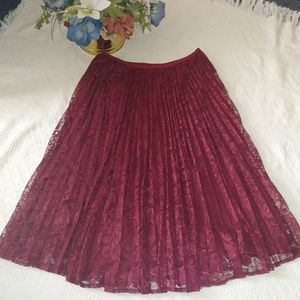 Talbots Pleated Lace Skirt NWT